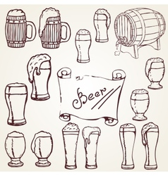 set sketches of beer vector image