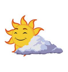 smiling sun cartoon mascot character image vector image vector image