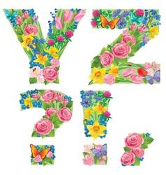 Alphabet of flowers YZ vector image vector image