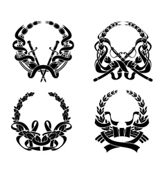 Coats of arms with swords and ribbons vector image