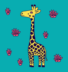 giraffe in a cartoon style is insulated on white vector image vector image