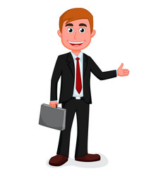 happy businessman presenting vector image vector image