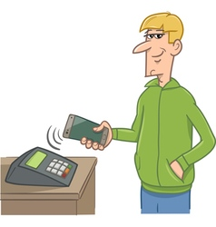 man paying with smart phone vector image vector image