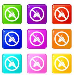 no moth sign icons 9 set vector image vector image