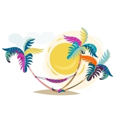 Palm trees sunset cartoon hand drawn vector image