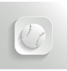 Baseball icon - white app button vector image vector image