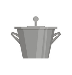 boiling water in pan black cooking pot flat vector image