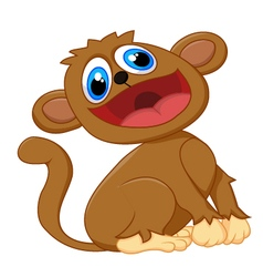 Cartoon cute monkey sitting vector image