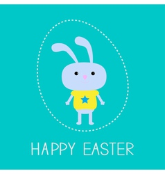 Easter bunny in the dash egg Card vector image