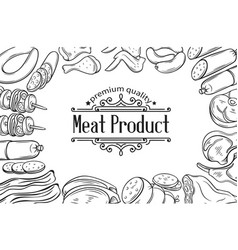 Hand drawn meat product poster vector