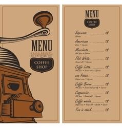 Menu for a cafe shop vector