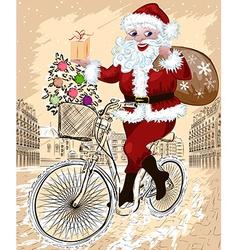 Santa Riding a Bicyle in a City Sketch vector image vector image