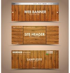 set of wooden web header vector image