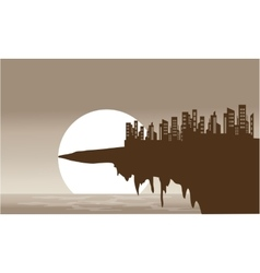 Silhouette of old town in the cliff vector image vector image