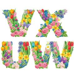 Alphabet of flowers WVUX vector image