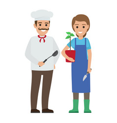 chef cook and gardener two smiling persons vector image