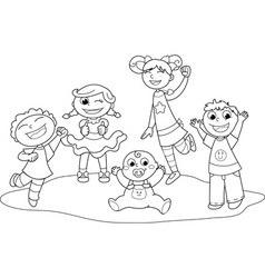 five happy children vector image vector image