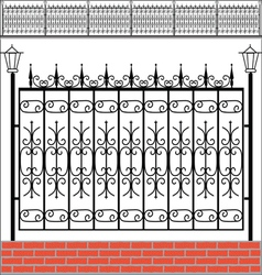 Iron fence with red bricks vector image vector image