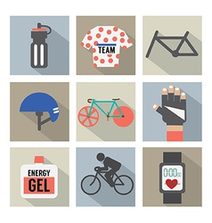 Set of Flat Design Bicycle and Accessories Icons vector image vector image