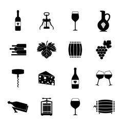Wine icons set black vector image