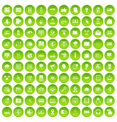 100 cyber security icons set green circle vector