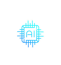 Ai chipset linear icon vector