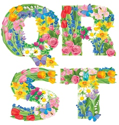 Alphabet flowers qrst vector