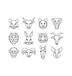 Animals icons in line art style vector