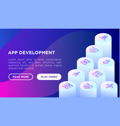 app development concept with isometric line icons vector image