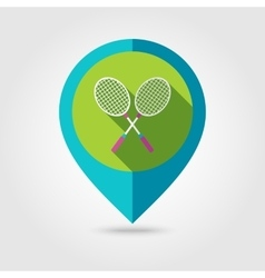 Badminton Racket flat mapping pin icon vector