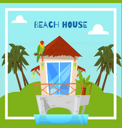 beach house on island in tropics bungalow vector image