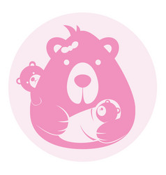 Bear mom mother with balogo silhouette head vector