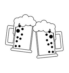 beers in cups black and white vector image