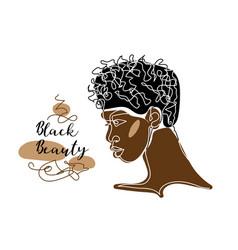 Black afro man s face portrait african man vector