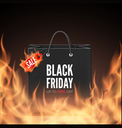 black friday banner discount label and shopping vector image
