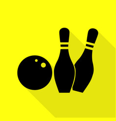 bowling sign black icon with flat vector image