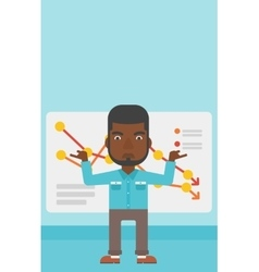 Businessman with decreasing chart vector image