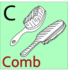 C letter alphabet Coloring book comb vector image
