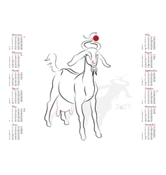 Calendar 2027 The Year of the Goat vector