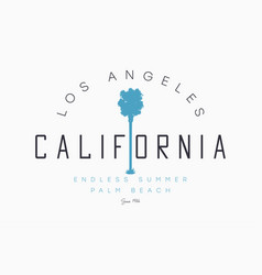 california los angeles t-shirt design with palm vector image
