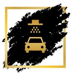 Car wash sign golden icon at black spot vector