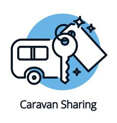 Caravan sharing community sharing economy concept vector