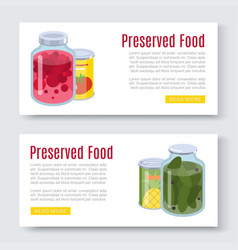 cartoon canned preserved and jar food banner vector image