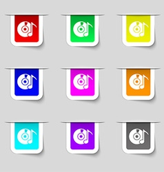 CD or DVD icon sign Set of multicolored modern vector image