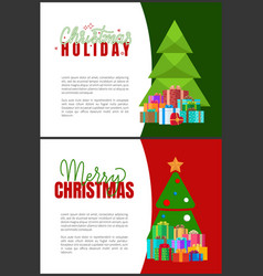 christmas holidays greeting cards fir trees vector image