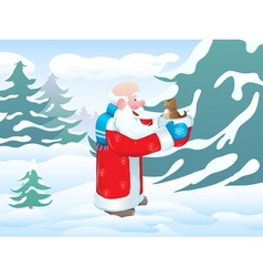 Christmas santa bird vector