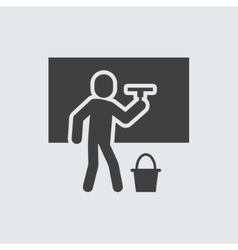 Cleaning man icon vector image