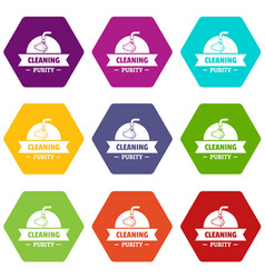 Cleaning purity icons set 9 vector