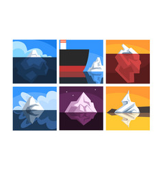 collection icebergs floating on water with vector image