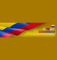 Colombian independence day horizontal web banner vector